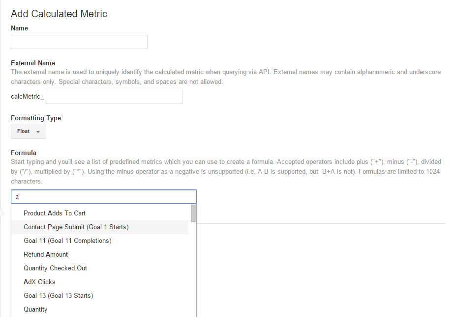 Add Calculated Metric To Google Analytics