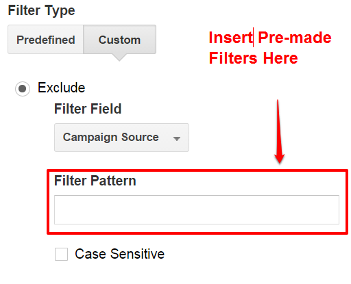 Add Custom Filter Patterns