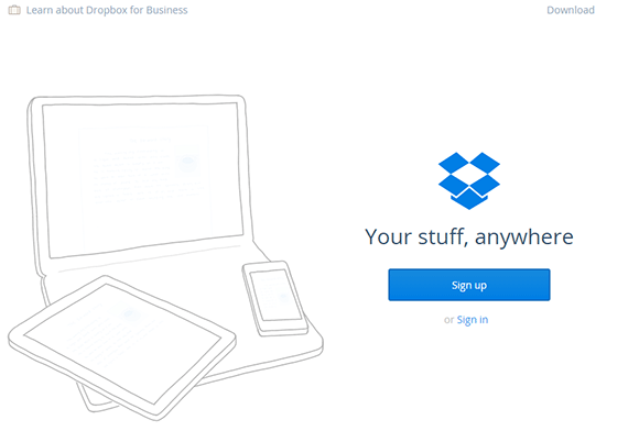 Dropbox Homepage CTA Example
