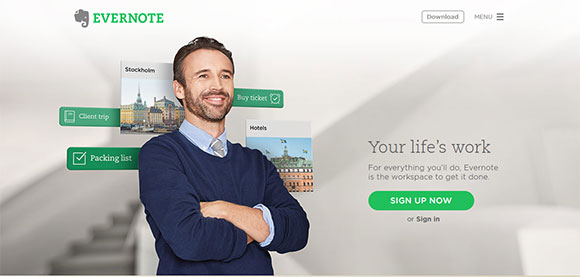 Evernote Homepage CTA