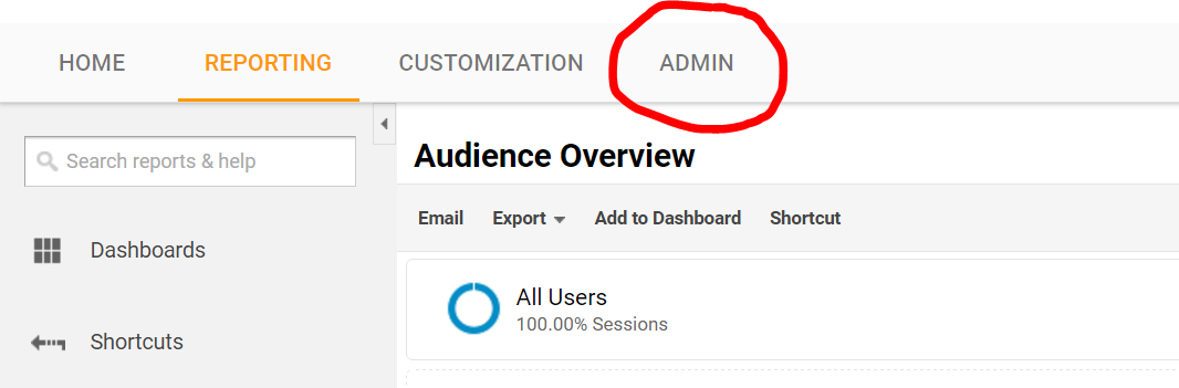 Google Analytics Account Admin