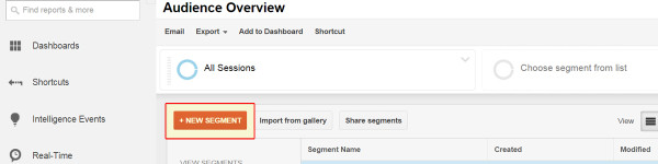 New Segment Button in Google Analytics
